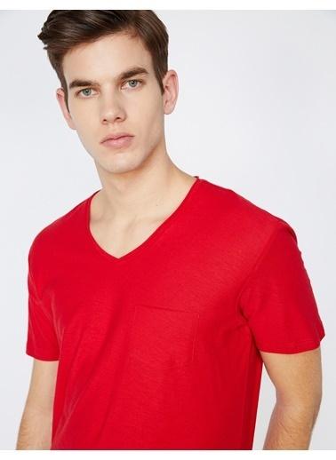 Koton V Yaka T-Shirt Kırmızı